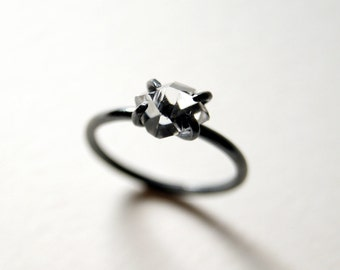 Herkimer Diamond Solitaire Ring in Oxidized Sterling Silver