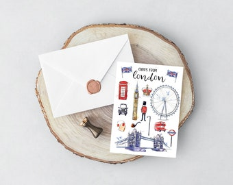 London travel card typography card bon voyage card card for londoner birthday card graduation card gift for travelers UK card world card