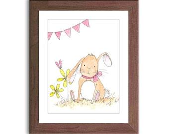 Bunny Nursery Art - Rabbit Nursery Decor - Baby Girl Nursery - Woodland Nursery Wall Art - Pink and Yellow Nursery - R101