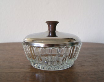 Mid Century Covered Cut Glass Sugar Bowl