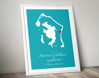Custom Wedding Gift : Personalized Wedding Location and Country Map Print - Bora Bora - Engagement Gift, Wedding Guest Book