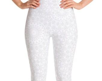 Leggings High Waist White Yoga Pants, Women's Printed Leggings, White Mandala Leggings