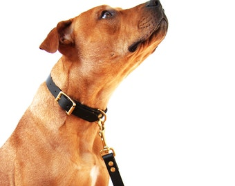 Matching Leather Dog Collar and Lead Set Made In Australia Luxury Dog Accessories Leather Leash Brass Hardware Black Leather Dog Collar