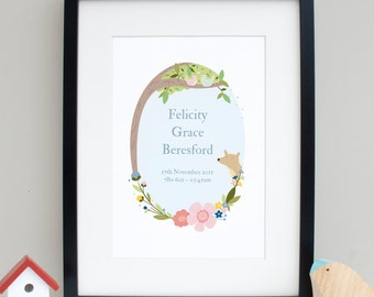 Personalised New Baby Print - Woodland nursery Print - Baby shower gift - Nursery Wall Art - New Baby Gift
