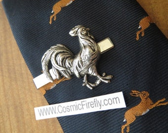 Silver Rooster Tie Clip Gothic Victorian Tie Clip Vintage Inspired Reproduction Men's Gifts For Him Men's Tie Clips Small Cock Tie Bar