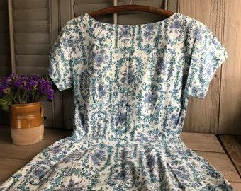 1950s Floral Cotton Dress, Day Dress, House Dress, Blue White Floral Print