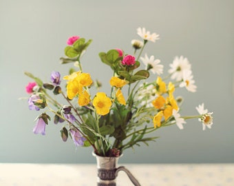 BOUQUET photography print, wildflowers in a vase, 8x12