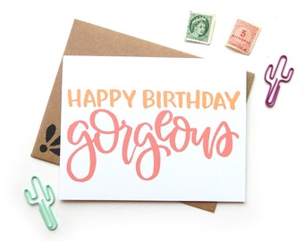 Happy Birthday Gorgeous Card | Handpainted  Brush Lettering Small Greeting Card Kraft Envelope