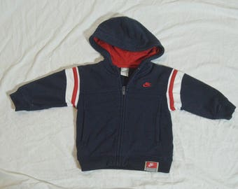 Vintage Nike Boys  Size 2T Spell Out Zipper Front Hooded Sweater