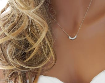 Wedding Necklace •  Bridal Jewelry • Bridal Diamond Necklace • Silver Bridesmaid Necklace • Bridal Necklace • CZ Necklace [653]