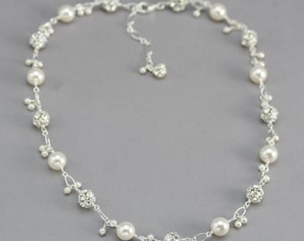 Pearl and Crystal Bridal Necklace, Delicate Wedding Jewelry for the Bride, Pearl Charm Necklace, Rhinestone and Swarovski Crystal Pearls