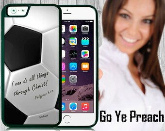 Philippians 4:13 Soccer Phone Case, Bible Verse Scripture iPhone case 4/4s 5/5s 5c 6 & Samsung Galaxy case s3 s4 s5 Faith iPhone Cover