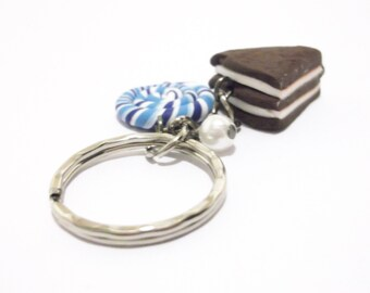 Cake Keychain Lollipop Keychain ( funny gift miniature food chocolate cake food keychain food keyring polymer clay gift for girl )