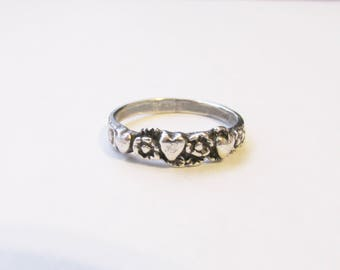 Sterling Silver Vintage Heart and Flowers Ring