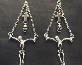The Sinner's Demise Earrings: Crucified Zombie Skeleton/Chained Satanic Demon Soul