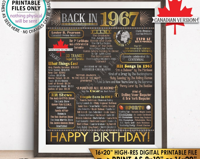 "CANADA 1967 Poster, 51st Birthday Flashback to 1967 Canadian History Back in 1967 B-day, Gold, Chalkboard Style PRINTABLE 16x20"" Sign <ID>"