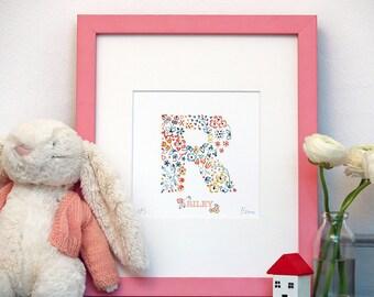 R Print Personalised Gift,children's name print,kids bedroom,nursery art,keepsake,baby girl,birth present,Limited Edition Alphabet Letter