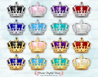 Ornate Jewelled Crowns Gold & Silver | Royal Blue Red Purple Pink Teal Sky Blue Black White |Clipart Instant Download