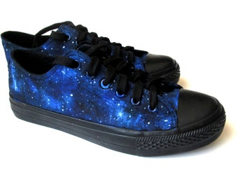 Custom handpainted galaxy shoes, personalized shoes, galaxy converse, low top galaxy, galaxy shoes, custom shoes, something blue shoes
