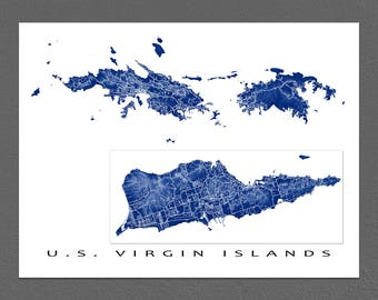 us virgin islands map print usvi art st thomas st croix st