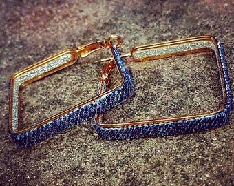 NEW Denim Earrings- Square denim hoop jean earrings