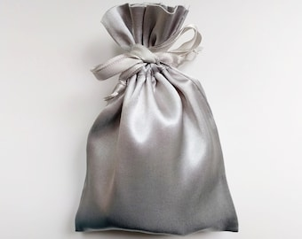 Satin Drawstring Bag, Silver Gray, 4x6 in. or 6x9 in., jewelry storage pouch, gift bag, wedding favor bag