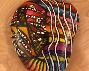 Large Abstract Painted Stone by J  Pope