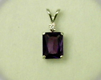 9x7mm Lab Created Alexandrite Gemstone with 2mm White Cubic Zirconia Accent in 925 Sterling Silver Pendant Necklace June Birthstone