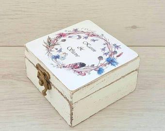 Rustic ring box, Wreath wedding box, Personalized box, Wedding ring box, Wooden ring holder, Custom ring pillow, Proposal ring box, Ring box