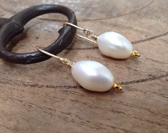 Baroque Pearl Earrings, Gold Filled, Lustrous, Sophisticated, Urban