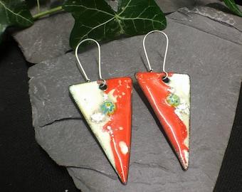 enamelled copper earrings /  copper dangle earrings / white orange earrings / enamel earrings / green millefiori