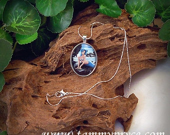 Blue Mermaid Fantasy Art Victorian Cameo Pendant Necklace 30x22mm