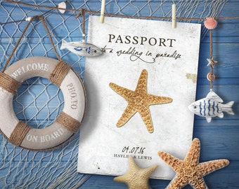 50 Shabby Chic Beach Seaside Destination Wedding Passport Photo Invitations