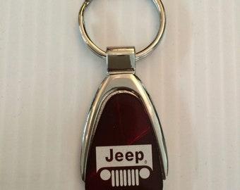 Jeep Grill Keychain & Keyring Teardrop - Burgandy