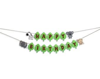 Jungle Themed Happy Birthday Banner, Jungle Birthday Party
