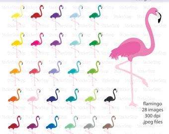 Flamingo Rainbow Digital Clipart - Instant download PNG files