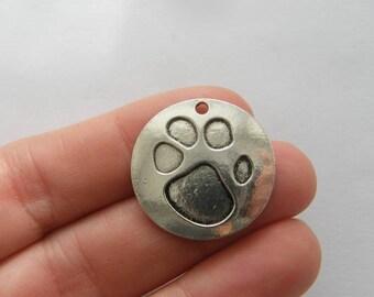 BULK 20 Paw charms antique silver tone A494