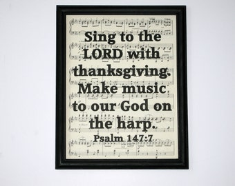 Bible Verse Print on Vintage Music - Psalm 147:7