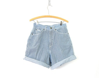 80s Jean Shorts Blue & White Striped Shorts 1980s High Waist Denim Shorts Hipster Roll Up Pinstriped Shorts Womens Size 12 Medium 29 waist