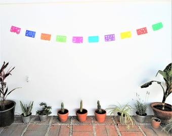 papel picado, mexican banner, rectangle bunting, mexican party decor XS