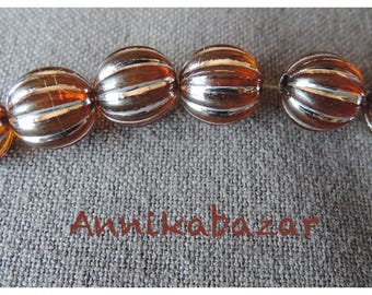 50 beads Baltic amber with inclusions of silvery metal