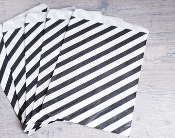 "12 Black White Striped Paper Bags. Zebra Horizontal Striped Popcorn, Party favors bags, merchandise bags. Candy Bags. 5 1/8 x 6 3/8""."