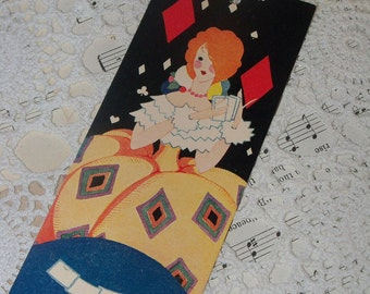 Antique Art Deco Fancy Tally Card-Red Head Flapper-Tallies-1920s-Volland-Unused