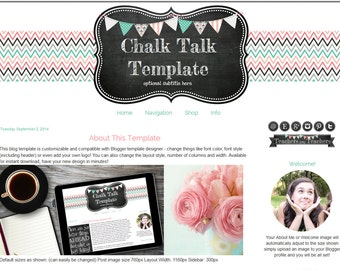 Premade Blogger Template - Chalkboard Blog Design -Teacher Blog Template - Craft Blog Template - Chalk Talk
