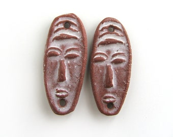 Earring Connectors - ceramic beads, face beads, tribal earrings, jewelry supplies, ethnic beads, inspired beads, unique bead supply