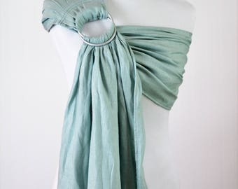 Bibetts Pure Linen Ring Sling Baby Carrier 'Cool Mint' - CPSIA compliant - Infant, Toddler and Baby Carrier