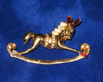 Coro Pegasus Rocking Horse Rhinestone Figural Brooch