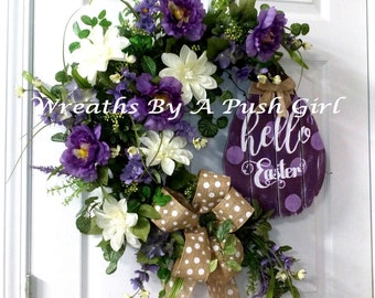 Easter Wreath, Easter Grapevine Wreath, Hello Wreath, Easter Décor, Purple & White Wreath, Front Door Wreath, Spring Décor, Spring Wreath