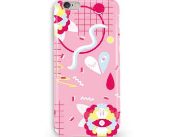 Pop Memphis Floral Heart Phone Case, iPhone & Samsung