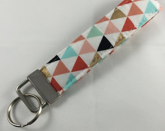 Modern Triangles Key Chain, Handmade Gift, Fabric Key Holder, Handmade Key Fob